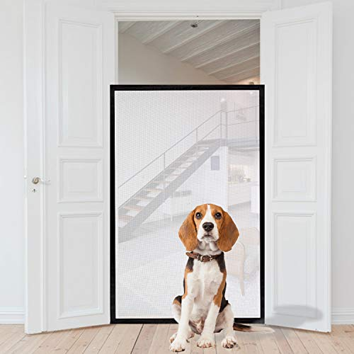 Magic Gate für Hunde, tragbares Sicherheitsgitter, zusammenklappbar, Netzgewebe, 150 cm x 110 cm, passend für die meisten Innen- und Außentüren, sicherer Schutz für Hunde, Katzen, Babys