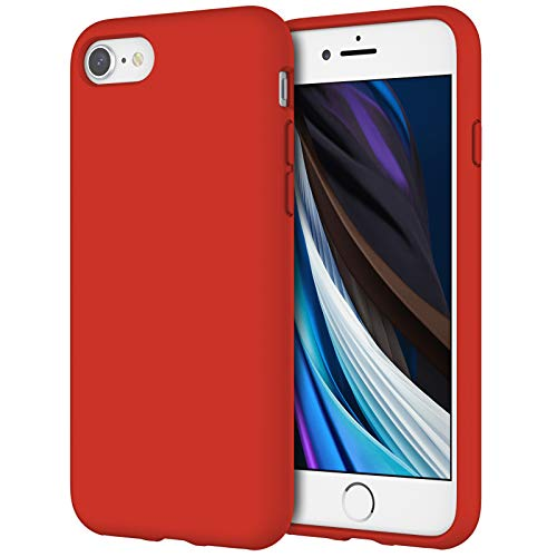 """JETech Funda de Silicona Compatible iPhone SE 2020, iPhone 8 y iPhone 7, 4,7"""", Sedoso-Tacto Suave, Cubierta a Prueba de Golpes con Forro de Microfibra, Rojo"""