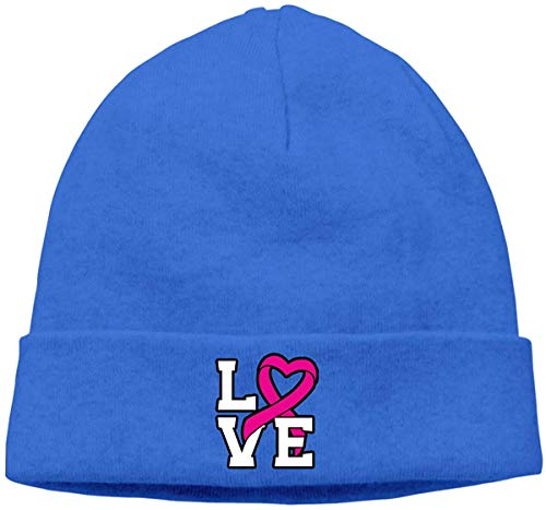 BHGYT Love Pink Ribbon Breast Cancer Awareness Unisex Winter Knitting Wool Warm Hüte Daily Slouchy Hütes Beanie Skull Hut