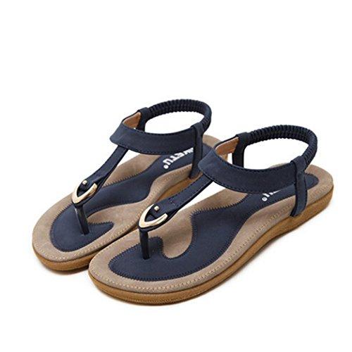 Winwintom Mujeres Bohe Moda Plana de Gran tamaño Casual Sandalias Verano de Estilo de Roma Zapatos de Playa (39, Azul)
