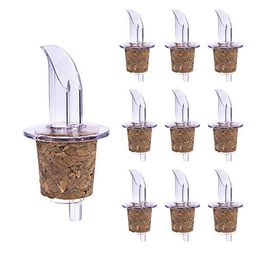 Byoeko dosificador, vertedor, Boquilla, Pico, dispensador de plástico con Corcho Natural para Botellas de Aceite, vinagre y Otros líquidos. 10 Unidades