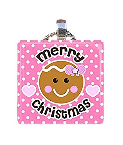 Sunshine Feliz Navidad pan de jengibre, hombre vacaciones hornear, collar colgante de azulejos de vidrio
