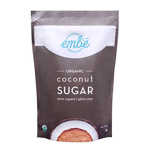embē Organic Coconut Sugar | Low Glycemic Sweetener | Sugar Alternative | Unrefined | Raw Coconut Sugar | Keto Friendly | Vegan | Organic | Non GMO |1 lb | 1-pack