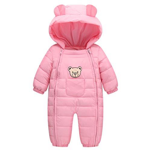 JiAmy Bambino Tute da Neve Inverno Pagliaccetto con Cappuccio Abbigliamento Manica Lunga Orso Rosa 12-18 Mesi