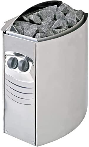 Calefactor DE Sauna Montaje en Pared 4,5 Kw-8,0 Kw con Control Integrado Acero Inoxidable, 6 kW