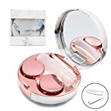 Contact Lens Case, Portable Cute Eye Contacts Colored Lenses Remover Box Kit with Mirror for Travel (Rose Gold)