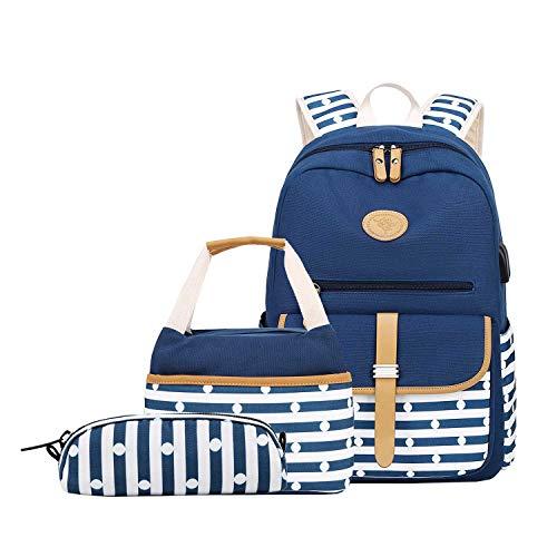 Neuleben 3 Set Schulrucksack + Kühltasche + Federmäppchen Mädchen Teenager Jungen Groß Rucksack Schulranzen mit USB Laptopfach Wasserabweisend (Blau)
