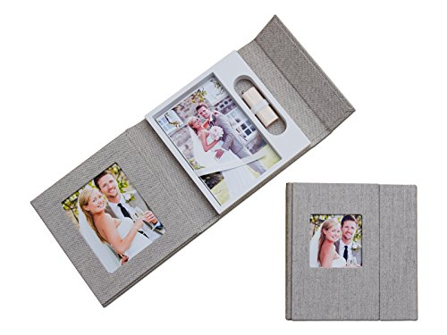 Bruiloft USB-case met fotobox. Linnen grijs