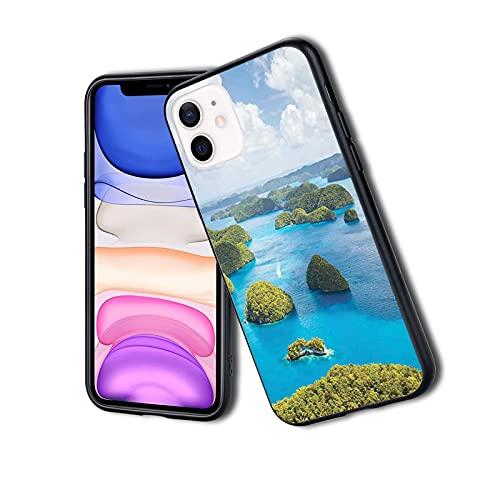 Vista de las islas de Palau desde arriba tradicional turística verde escénica imagen del mar, funda para teléfono para iPhone, resistente a los golpes, protector de doble capa