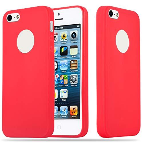 Cadorabo Funda para Apple iPhone 5 / iPhone 5S / iPhone SE en Candy Rojo - Cubierta Proteccíon de Silicona TPU Delgada e Flexible con Antichoque - Gel Case Cover Carcasa Ligera