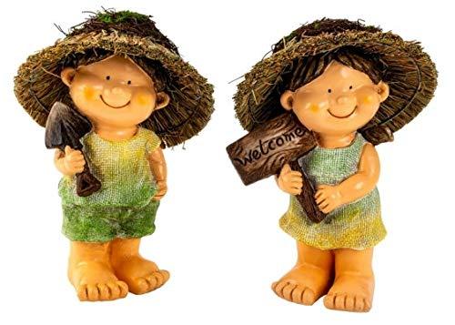 Gartenkind mit Strohhut 28 cm Figuren Dekofigur Garten Gartendeko Kinder Gartenfiguren für außen Gartenfigur Kinder Kinderfigur für Garten und Balkon (Junge)