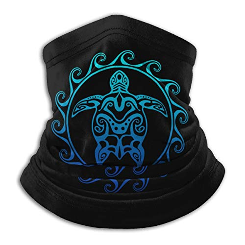 Tribal Ocean Blue Hawaiian Sea Turtle Neck Gaiter Warmer Windproof Mask Face Mask Winter Balaclava Scarf Cover