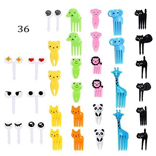 kuou 36 Pieces Mini Food Fruit Picks Forks, Cute Animals Food Toothpicks Mini Cartoon Toothpick for Kids Lunch Bento Forks Picks