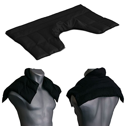 Cojín nuca, espalda superior y hombros con cuello - negro - Saco térmico de semillas - Almohada cervical - Huesos de cerezas -