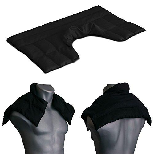 Kirschkernkissen Schulter & Nackenkissen mit Kragen. Wärmekissen Nacken für Mikrowelle (Farbe: schwarz, Kirschkerne)