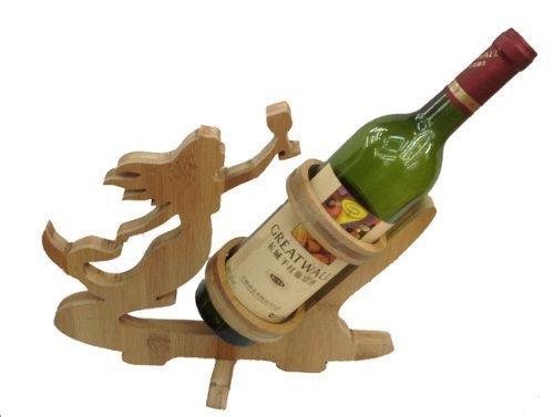 GMMH Diseño señora botellero Vino de pie Soporte para Botella de Vino de Madera de bambú