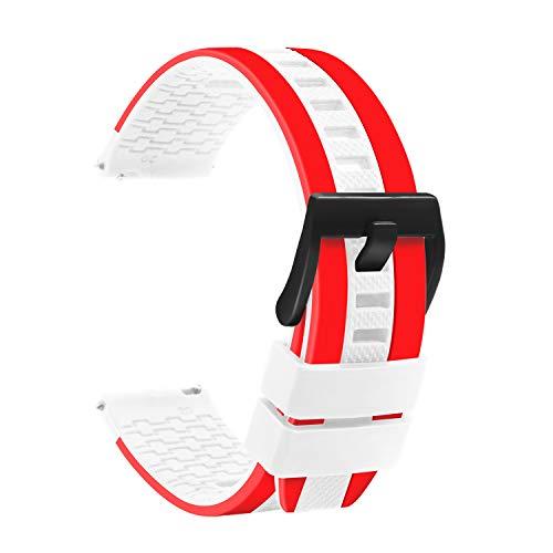 TStrap Cinturino Silicone 22mm Orologio - Caoutchouc Cinturini Orologio Rosso Bianca Rosso - Étanche Militare Deployante Bracciale Uomo Donna - Cinturino Smartwatch Fibbia in Nero