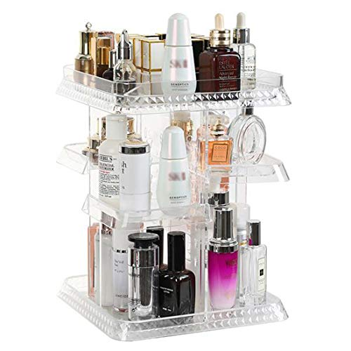 XMZFQ Cristal Maquillage Organisateur, Rotation De 360 Degrés Bijoux Réglable Affichage Cosmétique Parfums Support Box, Grande Capacité Make Up Rangement pour Salle De Bains Dresser Chambre