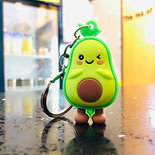 Cute Simulated Fruit Avocado Keychain 3D Soft Resin Smiling Avocado Keychains Couple Jewelry Women Fashion Christmas Small Gift A