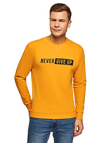 oodji Ultra Herren Baumwoll-Sweatshirt mit Schriftzug, Gelb, DE 50 / M