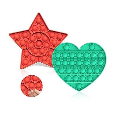 HahaGo 2PACK Fidget Juguete sensorial de Burbujas,Juguetes para aliviar la ansiedad,Alivio del estrés,apretar,Juguete sensorial,Burbuja de extrusión,Juguete sensorial para Adultos(Verde + Naranja) de HahaGo