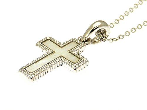 Incrustaciones de concha paua color plateado de metal colgante de la cruz / crucifijo en el collar de plata del color regulable - en caja de regalo