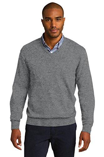 Port Authority® V-Neck Sweater. SW285 Medium Heather Grey 4XL
