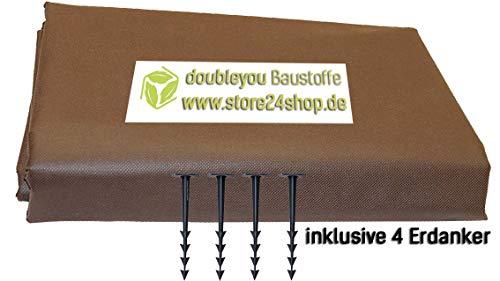Doubleyou Geovlies & Baustoffe Sandkastenvlies Schutzvlies für Sandkasten (braun / 2 x 2 m) + 4 Erdanker gratis