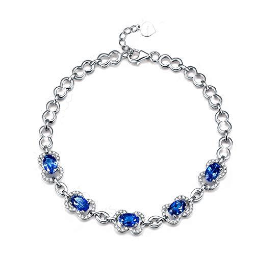 AmDxD Schmuck 18K Gold Armband Damen Damenarmband Blau Oval Sapphire Armreifen 0.7CT Silber