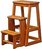 Sgabello Scaletta Pieghevole Scaletta pieghevole della scala del passo trasformabile con scaletta con 3 gradini / sedia in legno Sgabello con la scala con sgabello in legno Sgabello strato esteso per