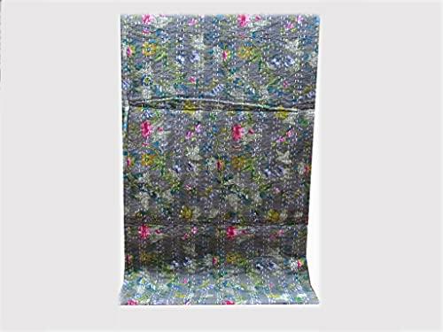 DN Handicraft Hecho a mano Bohemain Daliya Impreso Kantha Grey Rali Queen Size Kantha Quilt