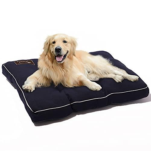 Petaccom-petking Cama para Perro Grandes - Colchón para Mascotas Extraíble y Lavable Cojín Perros Suave y Antideslizante, Azul Oscuro, L, 98 x 68 x 15 cm