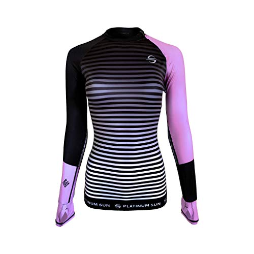 Platinum Sun Rash Guard for Women Long Sleeve Swim Shirt Rashguard Swimsuit Shirts UPF 50+ (Pink-Stripes, S)