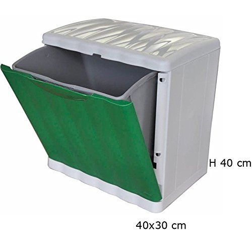 Afvalemmer voor afvalscheiding, 20 l, stapelbaar, Stefanplast Amica Eco Space, groen vuilnisbak