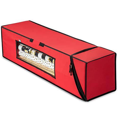 ZOBER Premium Rectangular Prism Gift wrap Storage Christmas Wrapping Paper Storage Bag- Fits 14-20 Standard Rolls Upto 40'- Slim Design for Underbed Wrapping Paper Storage Container or Closet Storage