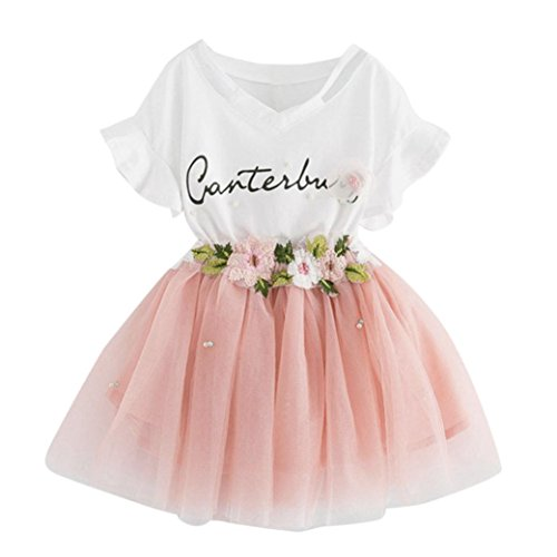 Babybekleidung,Resplend Süßes Mädchen Baby-Kleidung Gute Qualität Outfits Mode Cartoon kleines Kätzchen gedruckt Hemdkleid Kleiderset Net Garn Rock Puffrock Bekleidungssets Babyanzug (A Rosa, 5T)