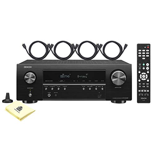 Denon AVR-S540BT 5.2 Channel 70W x 5 AV Receiver with Dolby Vision, HDR, HLG and 4K Ultra HD Video Pass-Thru and Bluetooth with 4 HDMI Cables and Zorro Sounds Home Theater Polishing Cloth
