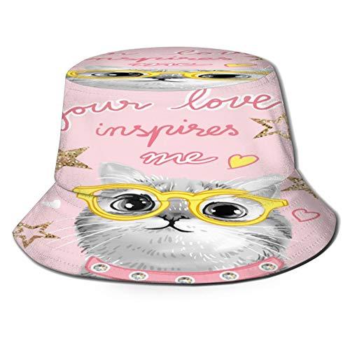 PUIO Sombrero de Pesca,Tipografía Lema BW Lindo Gato Gafas,Senderismo para Hombres y Mujeres al Aire Libre Sombrero de Cubo Sombrero para el Sol