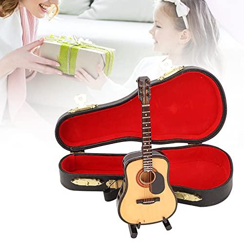 WNSC Modelo de Guitarra en Miniatura, réplica de Guitarra Hermosa artesanía Exquisita Suave y Brillante con Soporte para Amantes de la música para Regalos de decoración de Escritorio