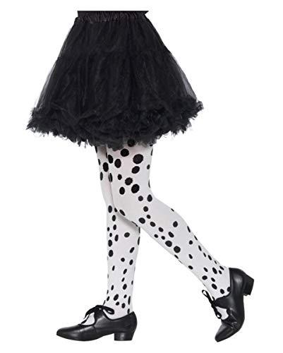 Horror-Shop Weiß-Schwarze Dalmatiner Kinder Strumpfhose als Kostümzubehör