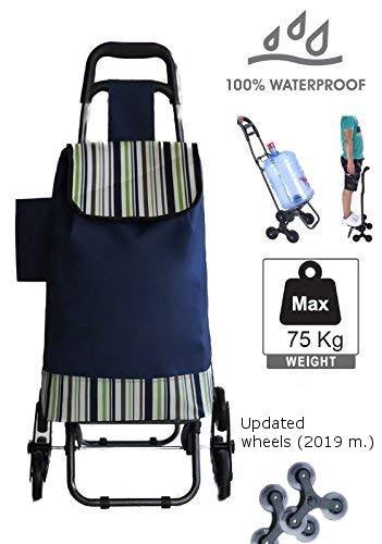 TAVALAX® Tris Floral Einkaufstrolley & Trolley Gestell Stahl klappbar & Wasserdicht (Blue)