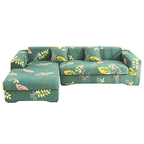 NOBCE Funda de sofá elástica seccional elástica para Sala de Estar Funda de sofá en Forma de L Funda de sillón de Esquina en Forma de L 1/2/3/4 plazas 145-185CM
