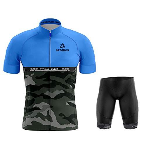 N/A Bodies de Ciclismo para Hombre~Ciclismo Conjunto Jersey Mangas Cortas+9D Acolchado De Gel Ciclismo Culote,Transpirable/Secado rápido,para MTB/Spinning/Bicicleta,style7,M