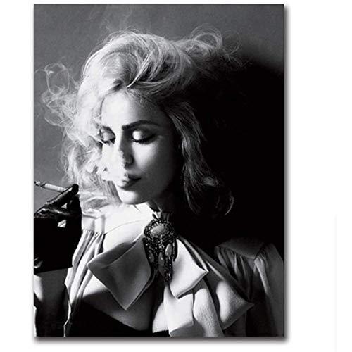 LangGe Stampe Quadri Donne in Bianco e Nero Fumatori Poster e Stampe Quadri Moderni per Soggiorno Decor 60x80 cm Senza Cornice