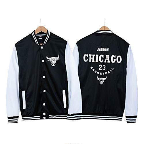 Michael Jordan Männer Basketballjacke Baseball Uniform, Chicago Bulls 23# Youth Icon Edition Swingman Jacke, ideal für Outdoor-Sport Party-Feier (M-4XL) Black-XXXXL
