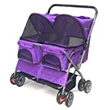 ZHEN GUO Double Seat Pet Stroller Double Sleeping Nest Bed Car Lightweight Folding Removable And Washable Trolley Cats Dogs Widen Care Go Out Pet Cart Dog Strollers For Medium Dogs (color : Purple)