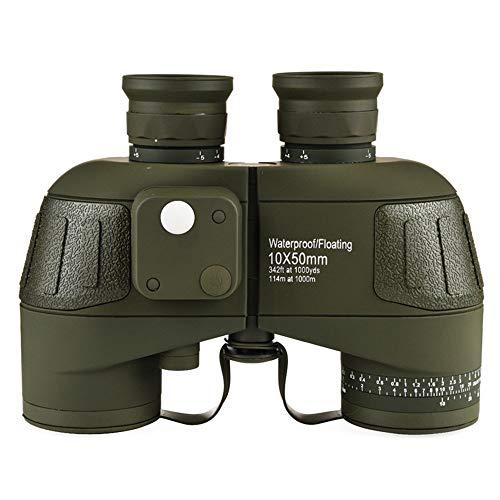 DKEE Nautical Compass Telescope Hochauflösendes Stickstoffgefülltes Wasserdichtes 10X50-Nachtsichtteleskop Mit Geringem Lichteinfall, Das Tragbare Outdoor-Reiseteleskope In Grün Abdeckt