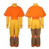 Avatar Aang Boys Cosplay Costume Full Uniform Set Airbender Anime Halloween Fancy Dress Outfit (Large, Yellow)