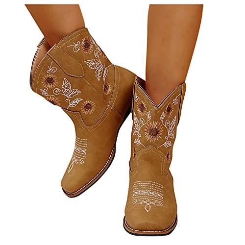 Dasongff Bottes Gros Mollets Femme Boots Talon Bas Femme Confort Botte Cavalières Broderie Bottine Femmes Automne 2021 Cowboy Western Antidérapant Bottes Larges Bout Rond Vintage