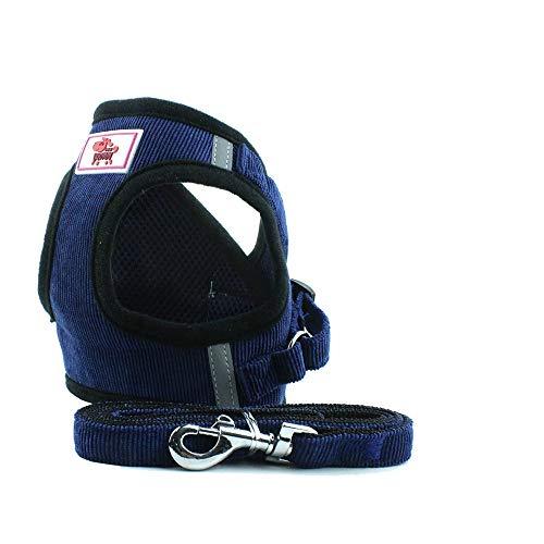 Anlitent Doppelt gepolstertes Stoffgeschirr und Leine, nicht erstickend, Set für Spaziergänge, ausbruchsicher, Hundegeschirr, einfach zu montierendes Hundehalsband und Leine, Marineblau